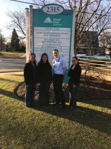 Left to right: Tiffany Scarpa Medical Assistant/Care Coordinator, Samantha Rizzo LMSW MHSC Corps Member, Shye Wortman MD, Rosemarie Santoro Practice Transformation Manager and Project lead for MHSC program